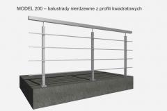 MODEL 200 – balustrady nierdzewne z profili kwadratowych