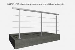 MODEL 210 – balustrady nierdzewne z profili kwadratowych