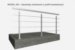 MODEL 240 – balustrady nierdzewne z profili kwadratowych