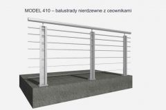 MODEL 410 – balustrady nierdzewne z ceownikami