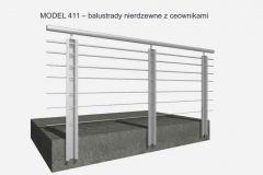 MODEL 411 – balustrady nierdzewne z ceownikami